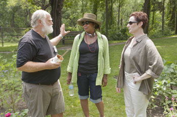 Ten Chimneys volunteer and Master Gardener Dan Cummings talks with Fellows Jacqueline Williams (Goodman Theatre) and Laura Gordon (Milwaukee Repertory Theater) on the Estate Wednesday morning.